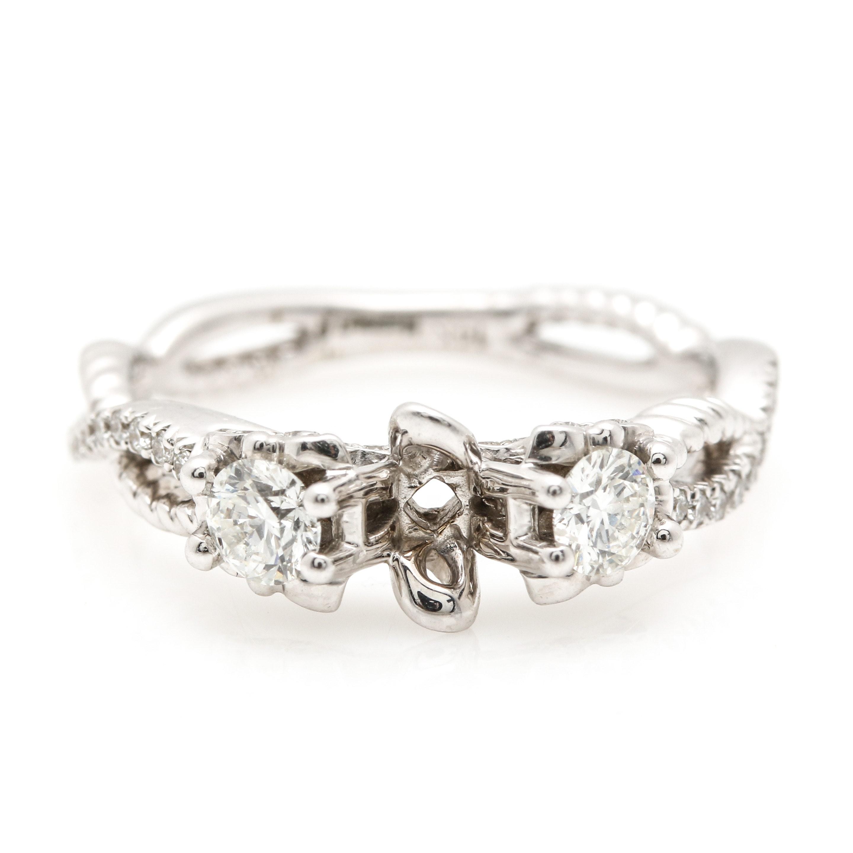 14K White Gold and Diamond Semi-Mount Ring