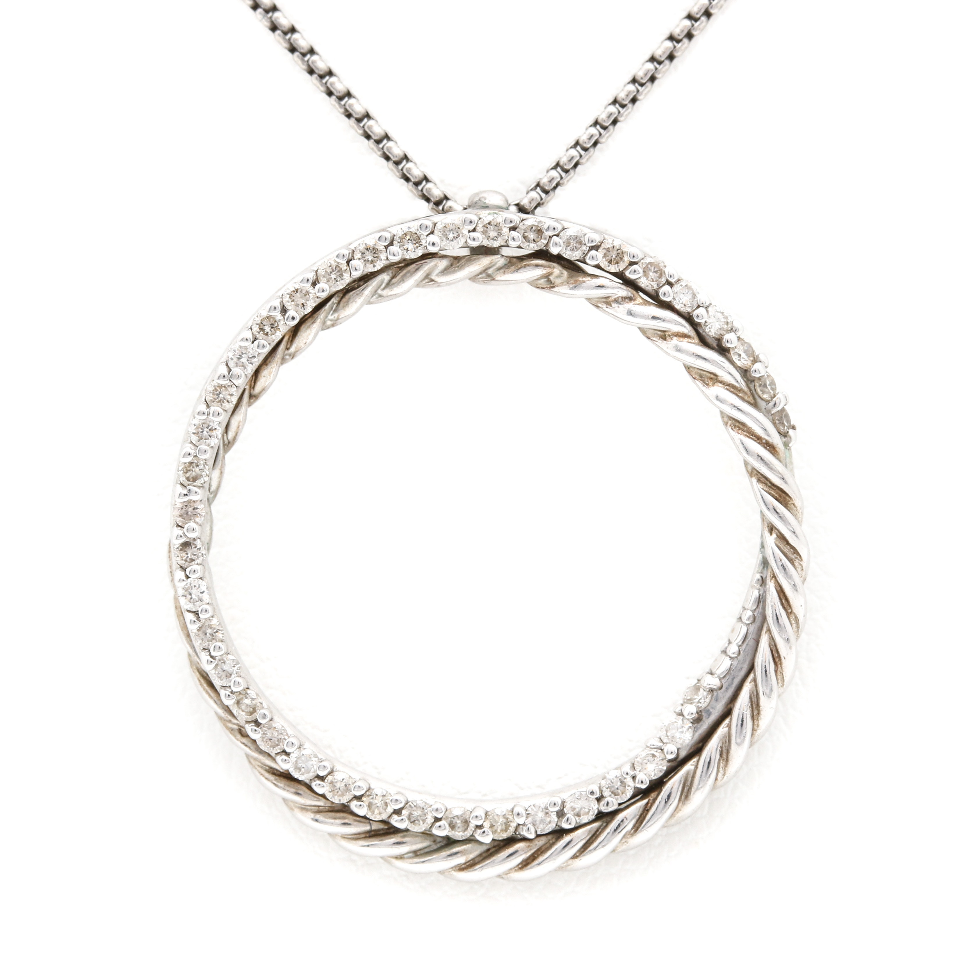 David Yurman Sterling Necklace with 18K White Gold and Diamond Eternity Pendant