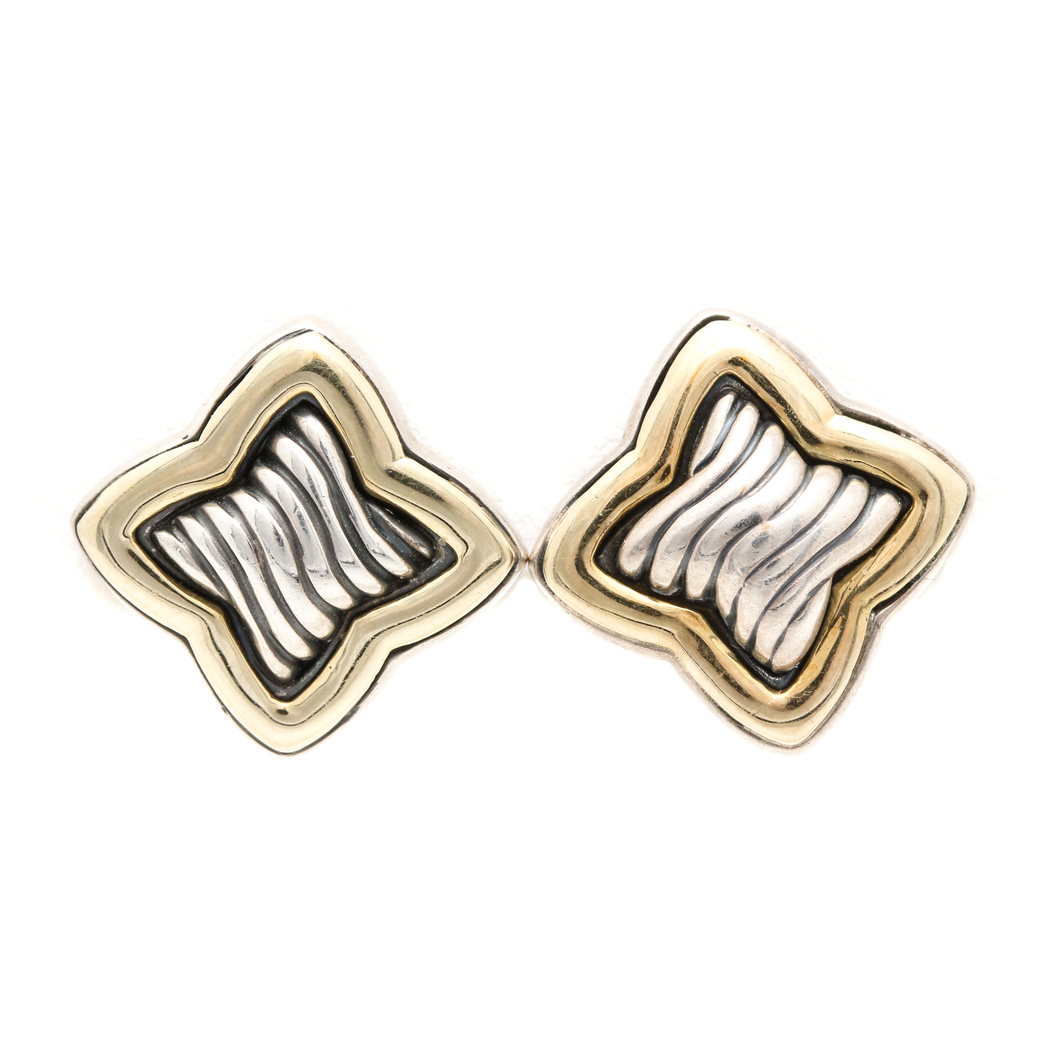 David Yurman Sterling Silver And 18K Yellow Gold Quatrefoil Earrings