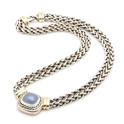 David Yurman Sterling Silver and 14K Gold Chalcedony Pendant Necklace