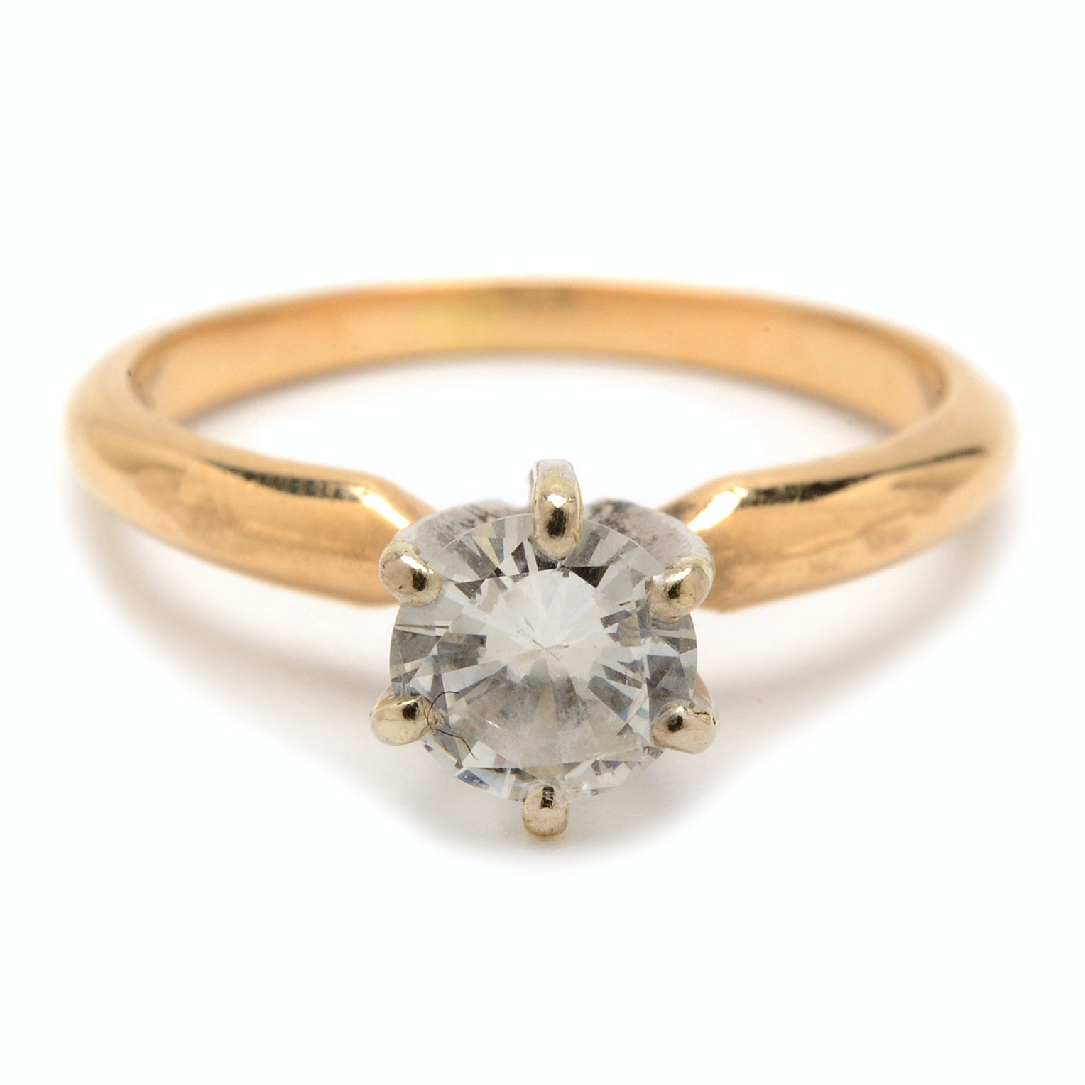 14K Yellow Gold Solitaire Diamond Engagement Ring