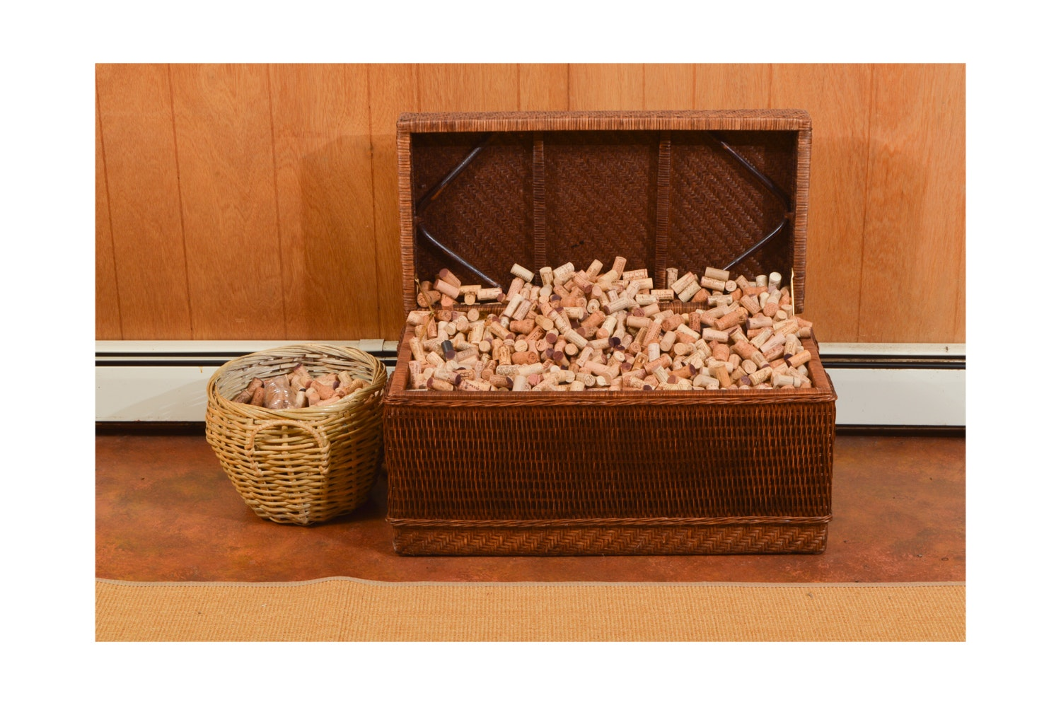 Wicker Trunk and Basket with Wine Cork Collection