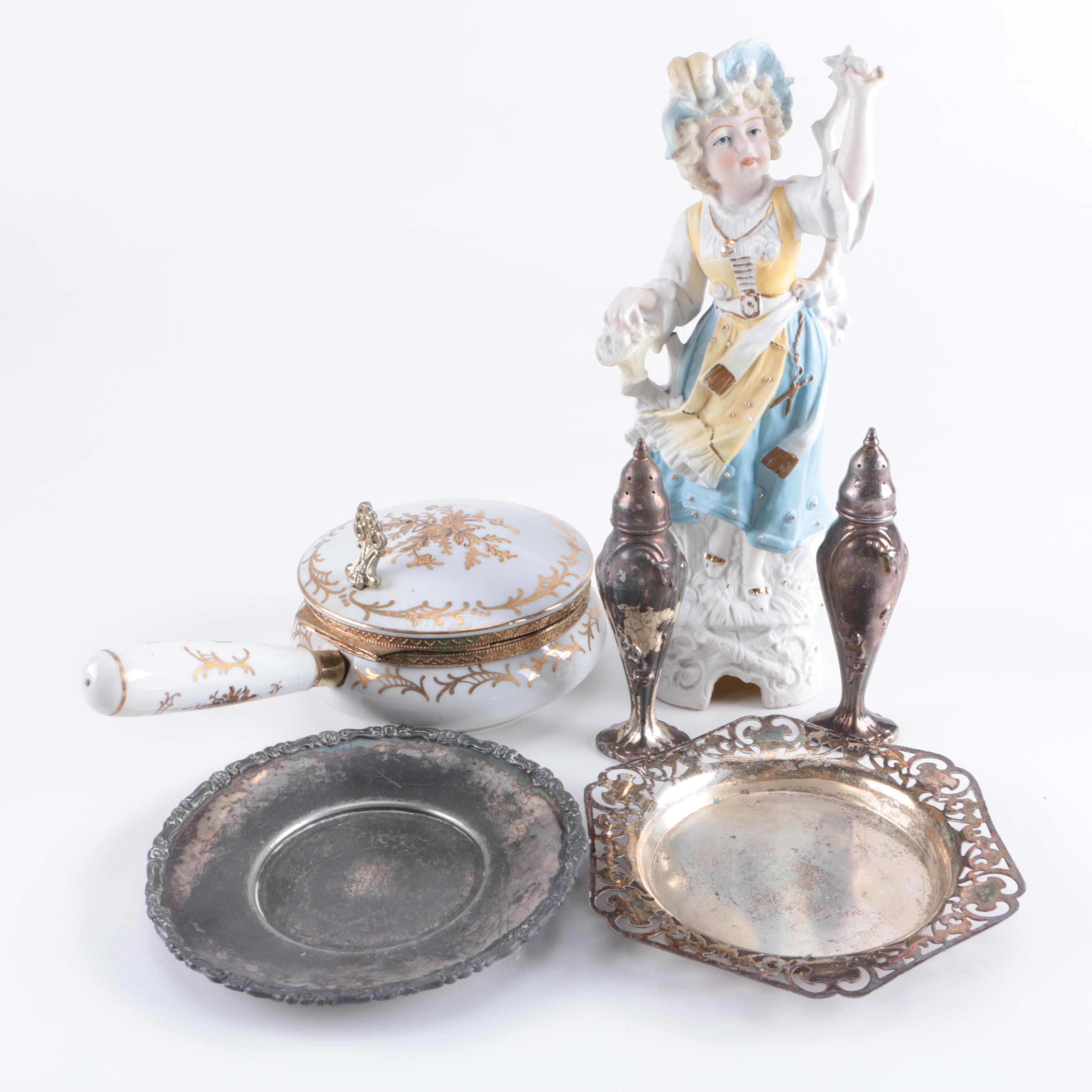 An Assormment of Porcelain and Silver Plate Decor