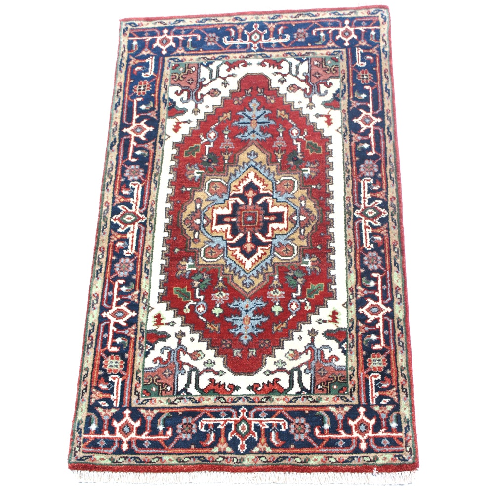 Hand-Knotted Persian Indo-Heriz Serapi Accent Rug
