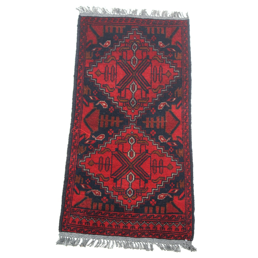 Hand-Knotted Afghan Turkmen Accent Rug