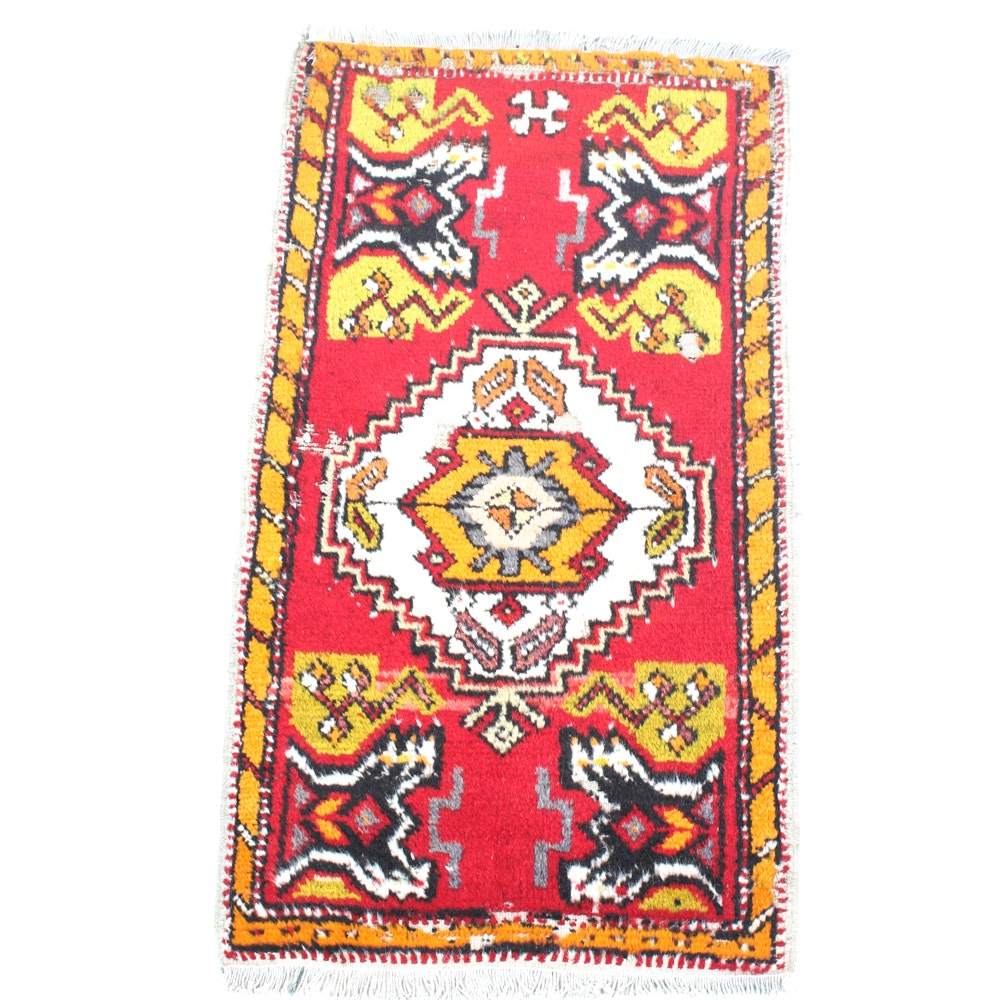 Semi-Antique Hand-Knotted Anatolian Village Accent Rug