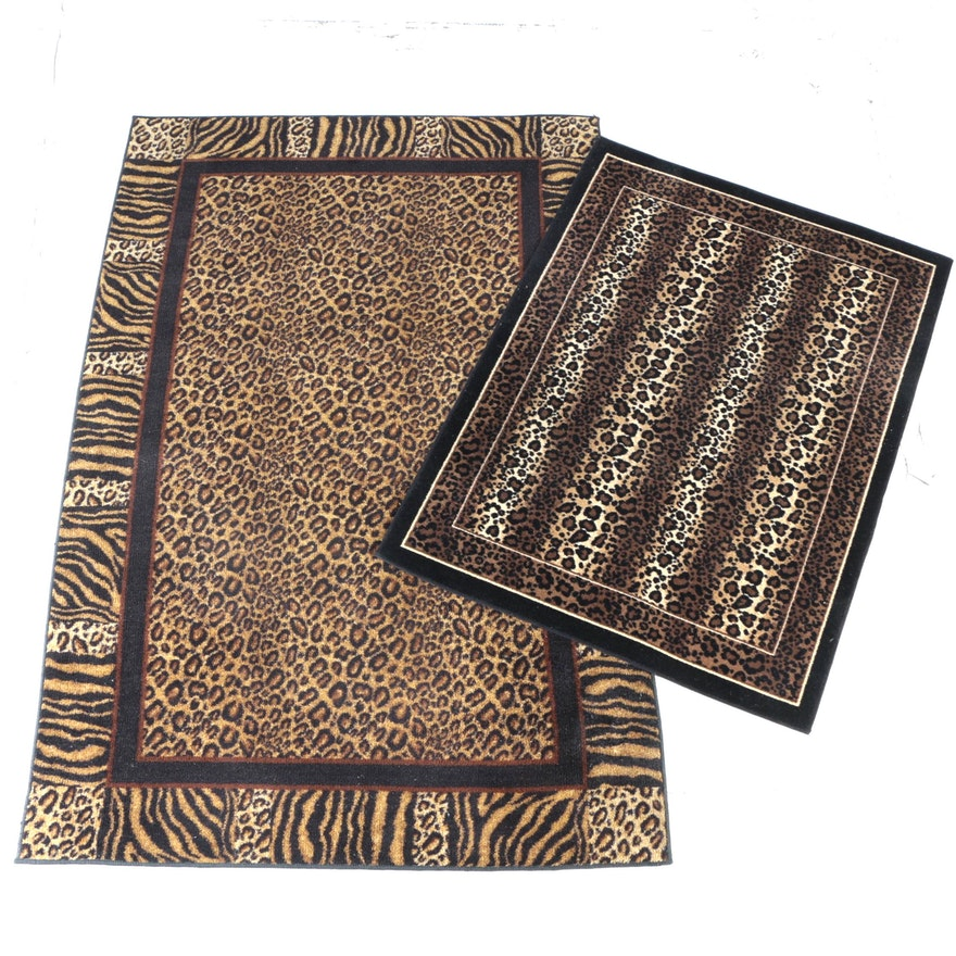 Pair Of Machine Made Animal Print Accent Rugs Including Mohawk
