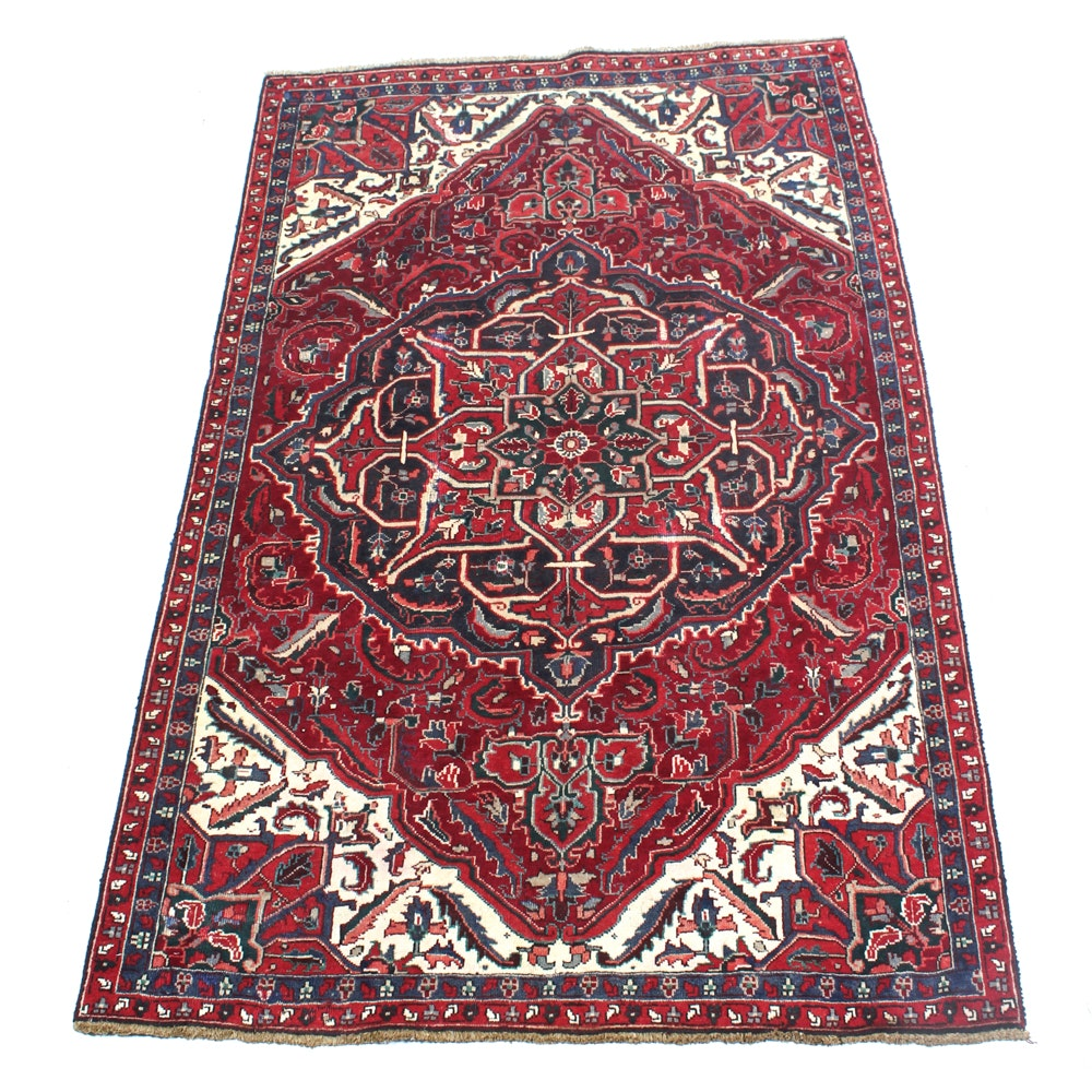Hand-Knotted Semi-Antique Persian Heriz Rug