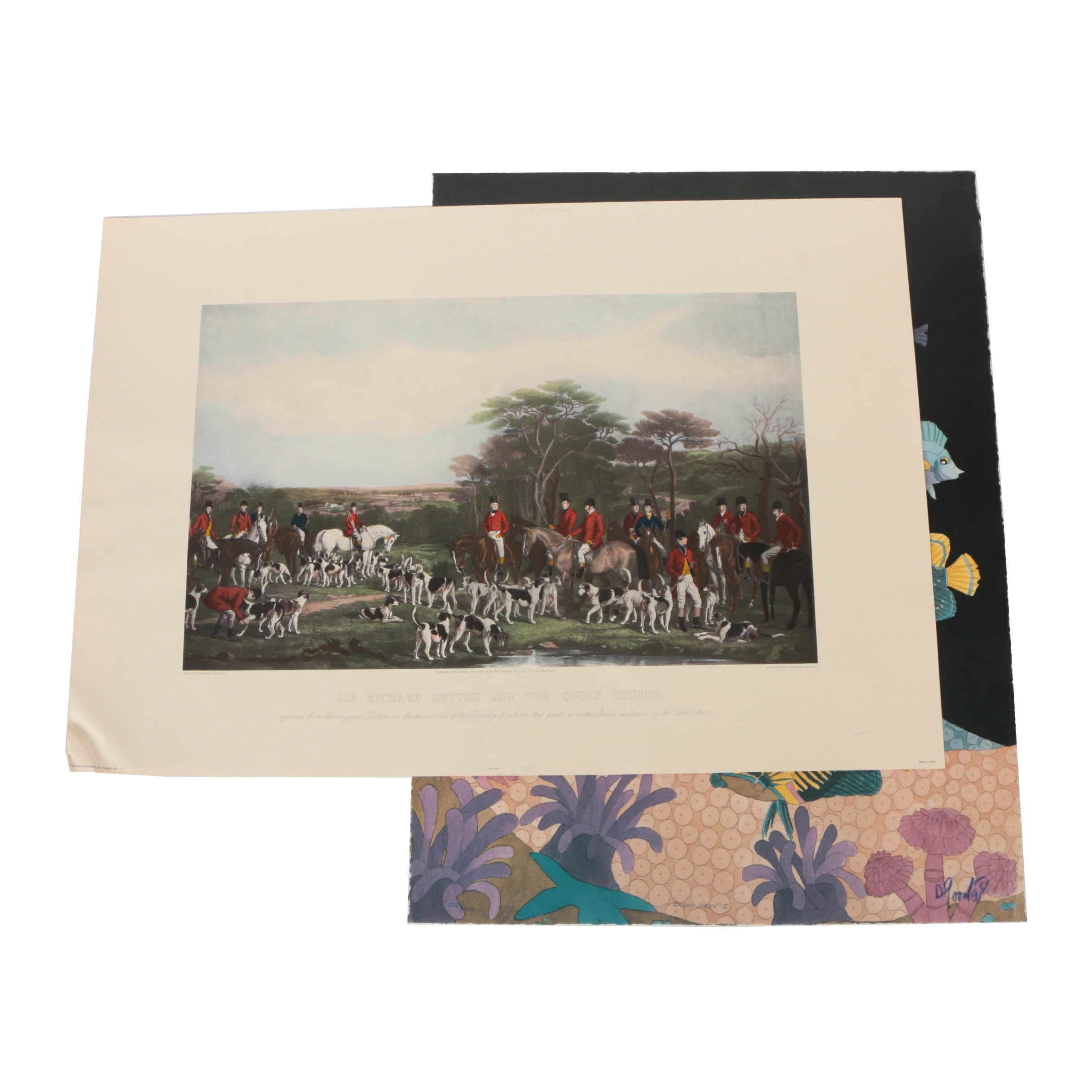 Offset Lithograph and Halftone Print on Paper Aquatic and Fox Hunting Scenes