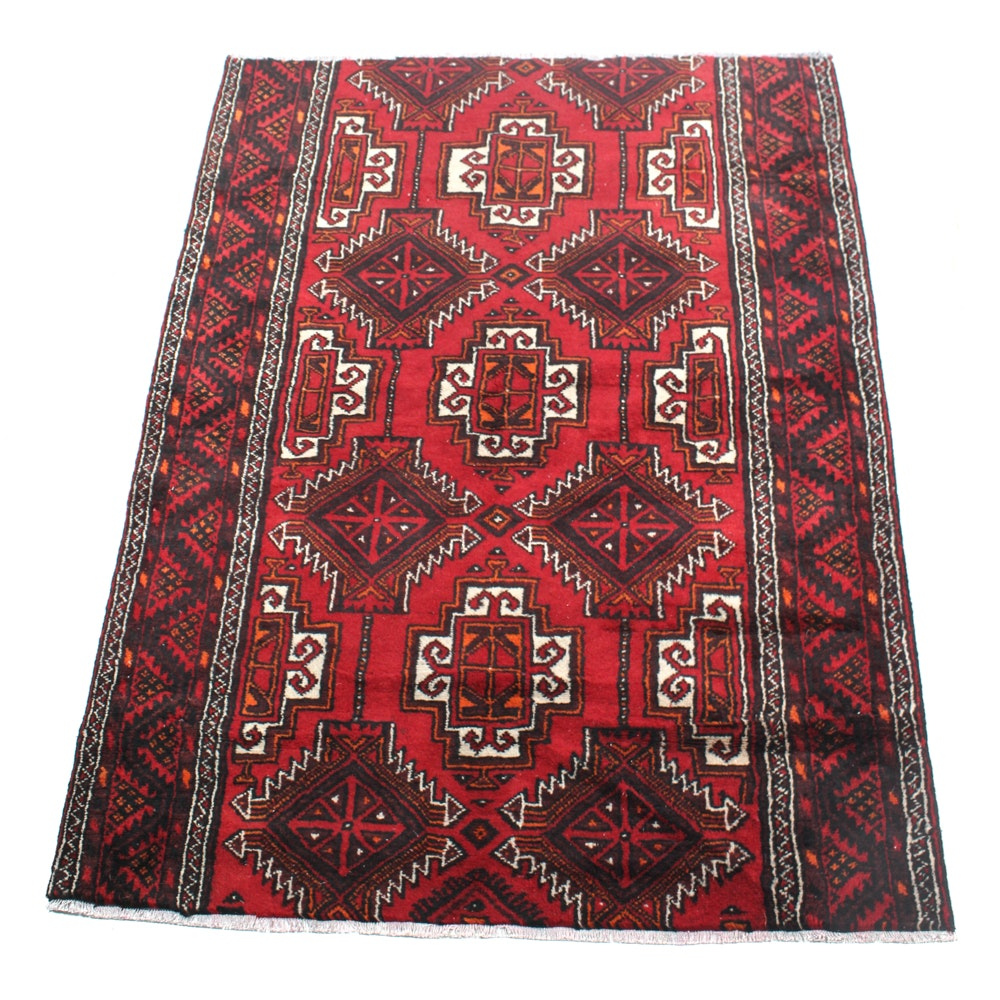 Semi-Antique Hand-Knotted Persian Baluch Rug