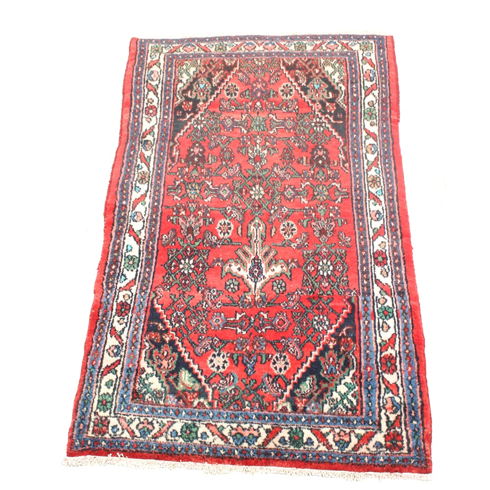 Hand-Knotted Semi-Antique Persian Zanjan Accent Rug