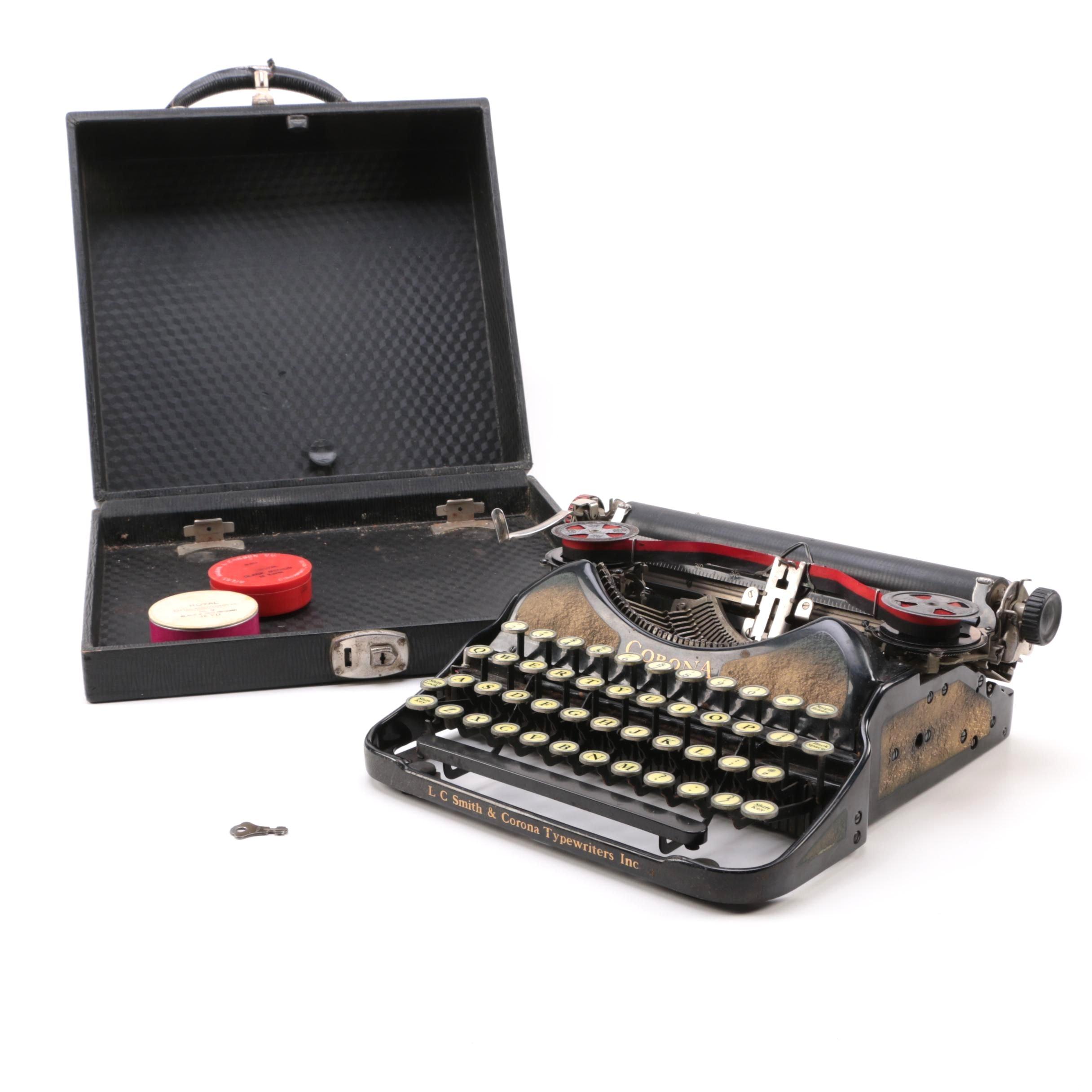 Vintage Corona Typewriter with Case