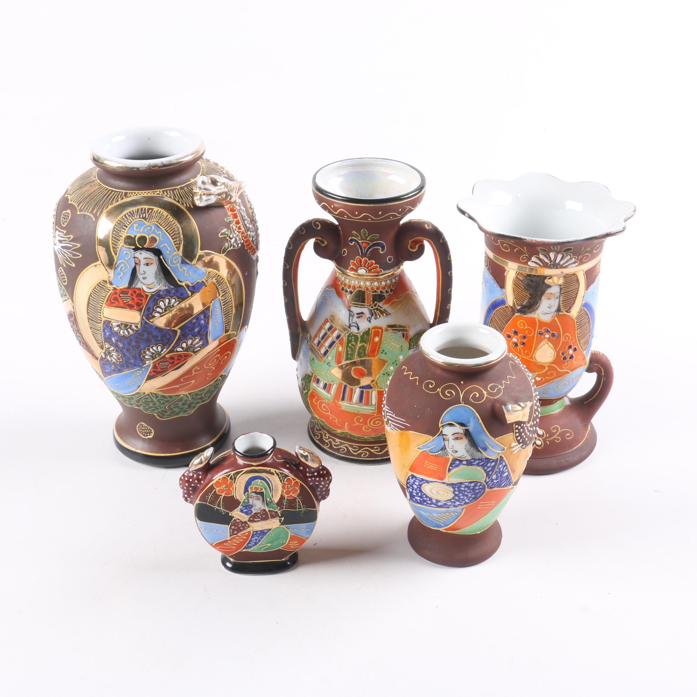 Collection of Japanese Satsuma  Ceramic Vases