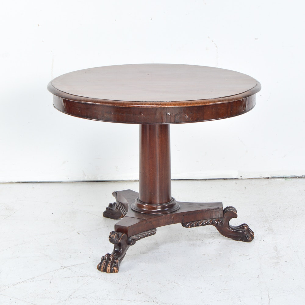 Vintage Lion Paw Pedestal Table