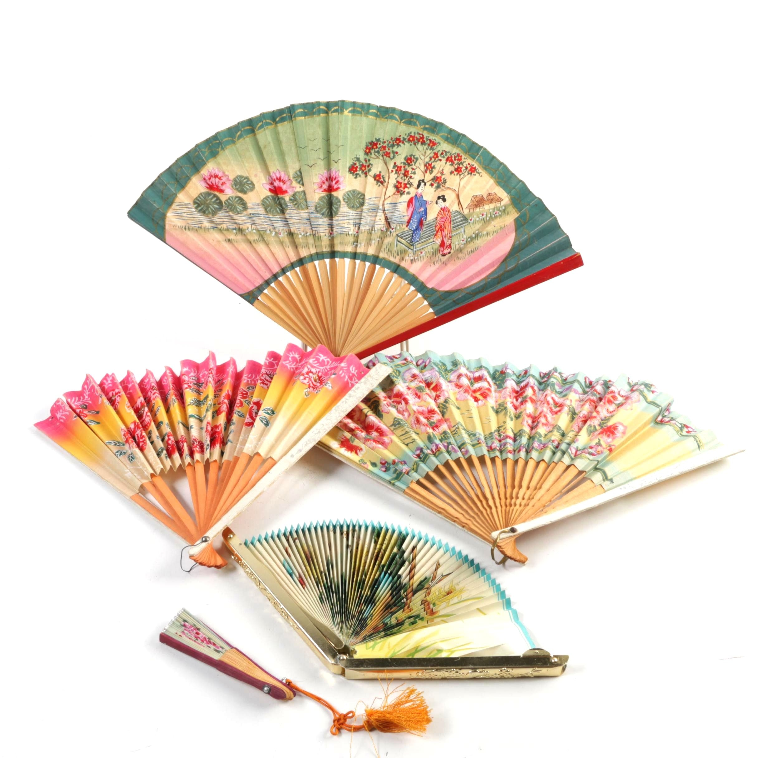 Collection of Five Vintage Hand Fans