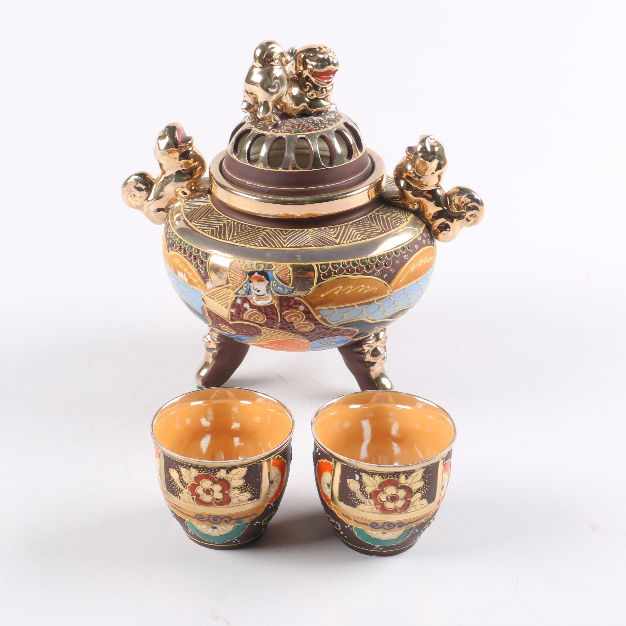 Japanese Moriage Satsuma Style Tea Set