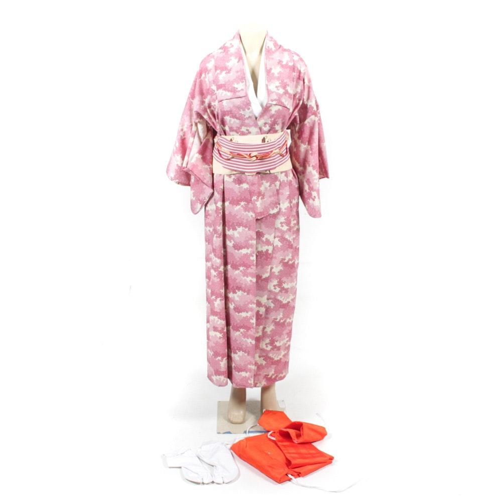 Vintage Japanese Kimono with Obi