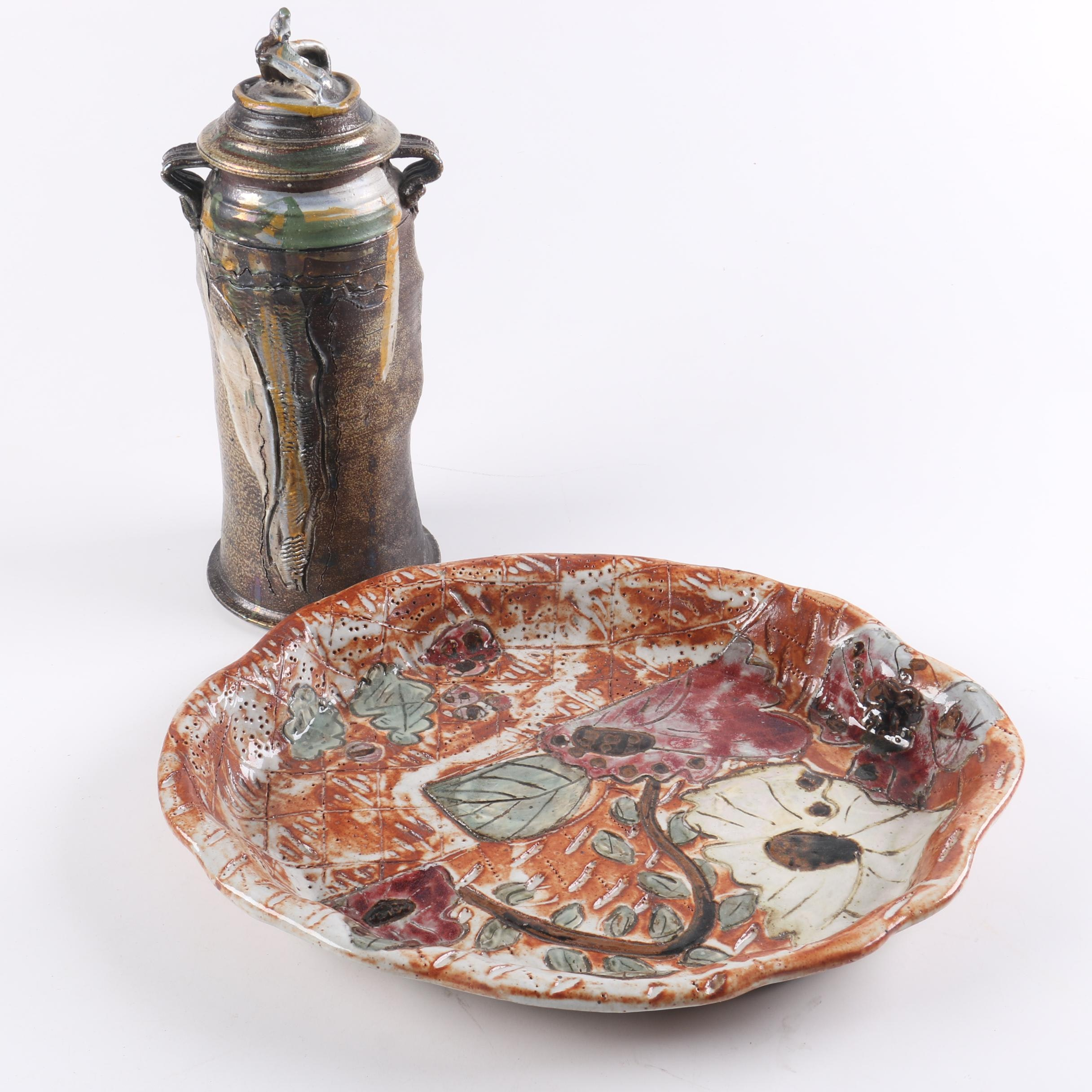 Signed Art Pottery Plate with Lidded Canister