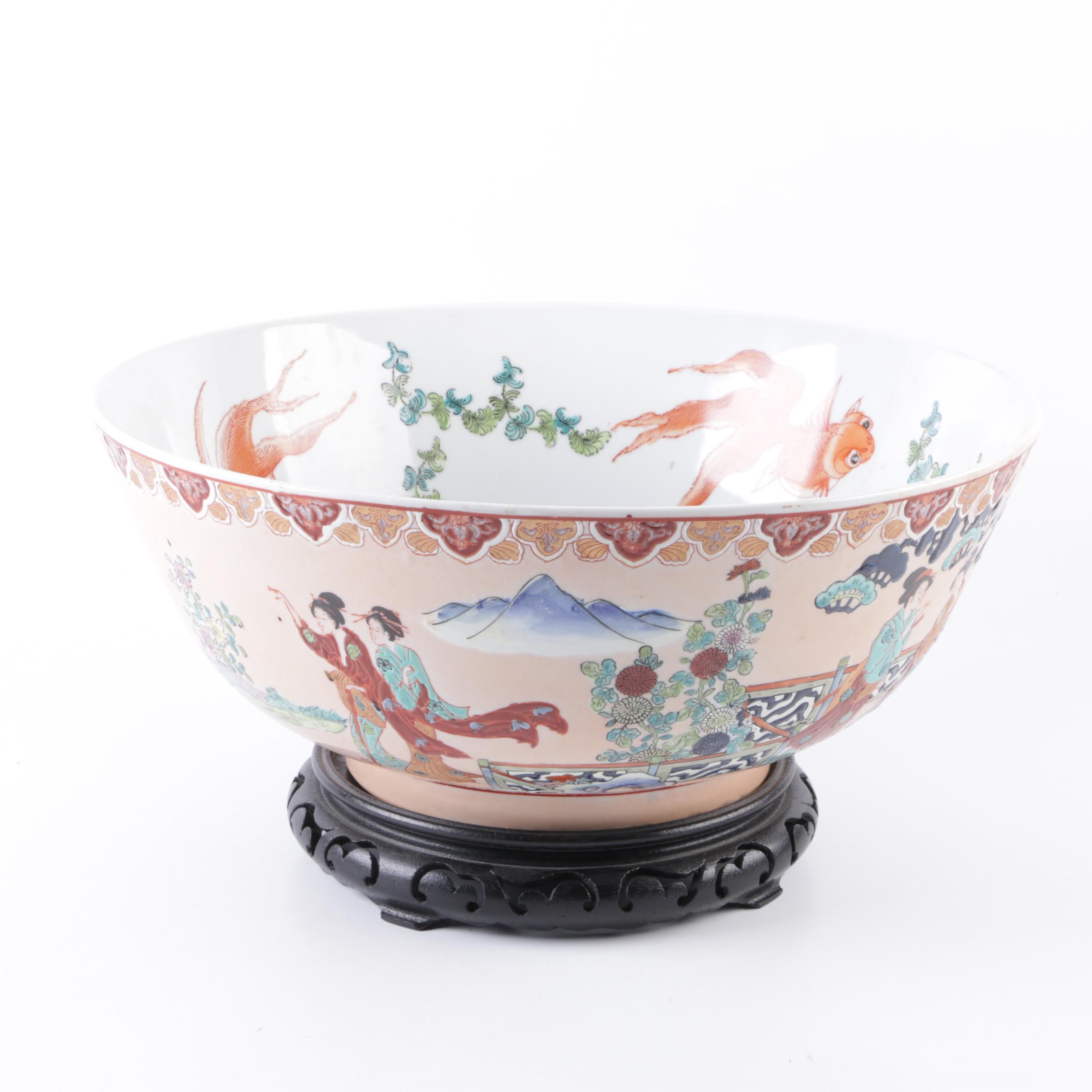 Large Decorative Japanese Koi Bowl with Carved Stand
