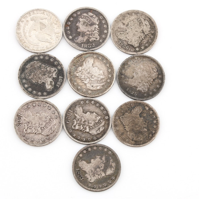 Group of 10 silver Capped Bust Half Dimes Including an 1829