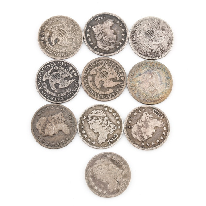 Group of 10 silver Capped Bust Half Dimes Including an 1831