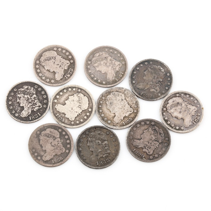 Group of 10 silver Capped Bust Half Dimes Including an 1832