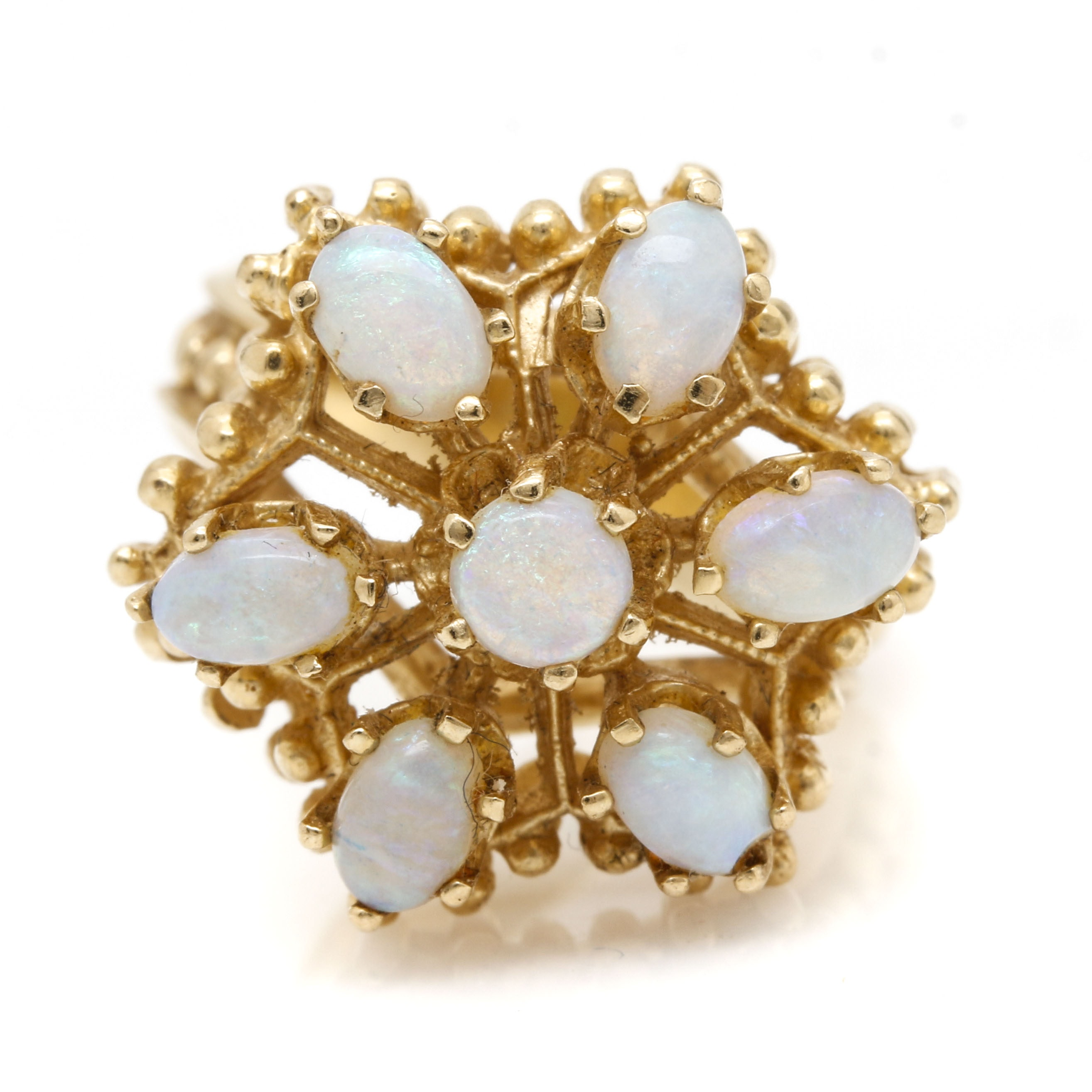 14K Yellow Gold 1.04 CTW Jelly Opal Clustered Ring