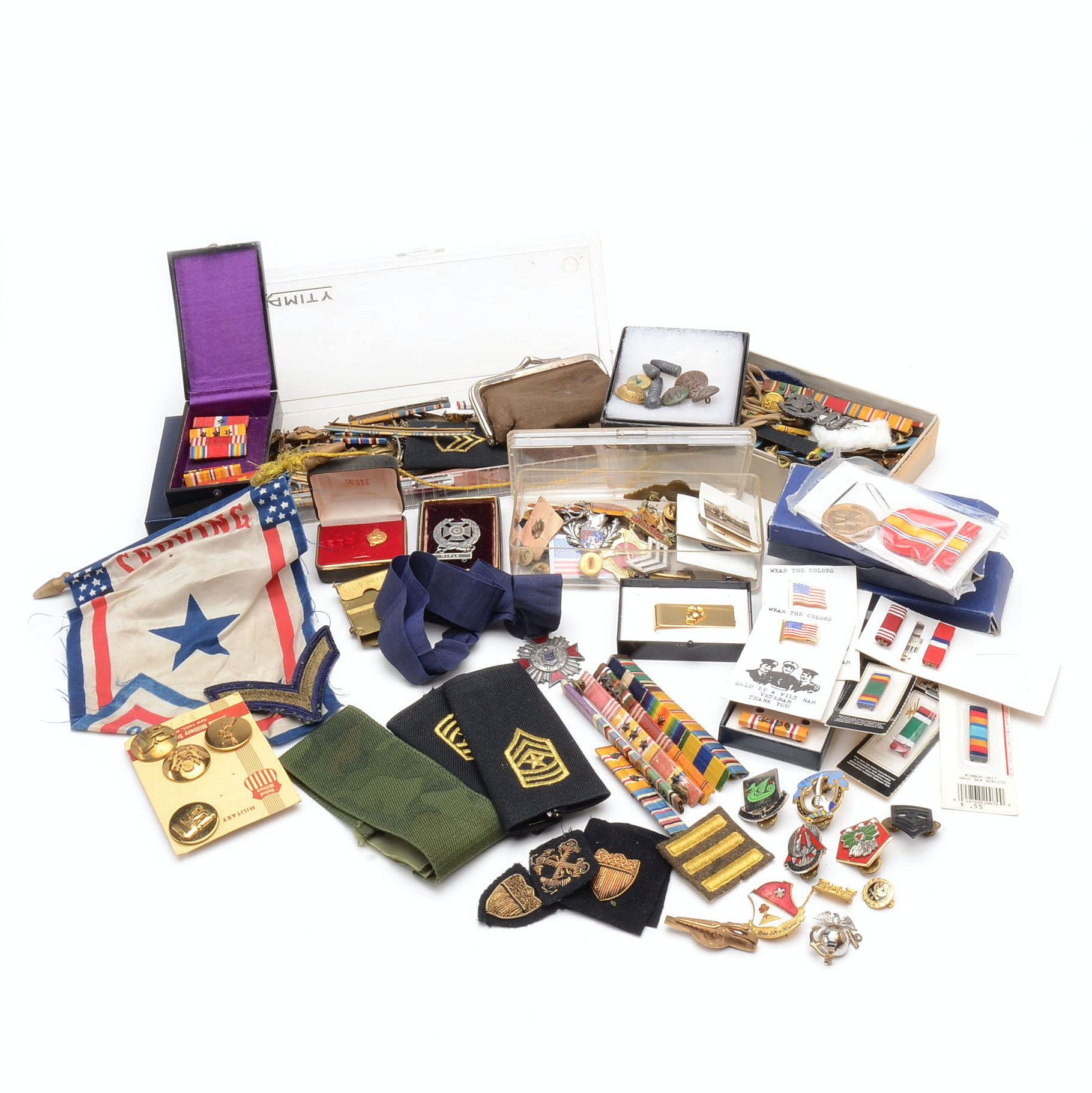 Collection of Vintage US Military Ribbons and Insignia