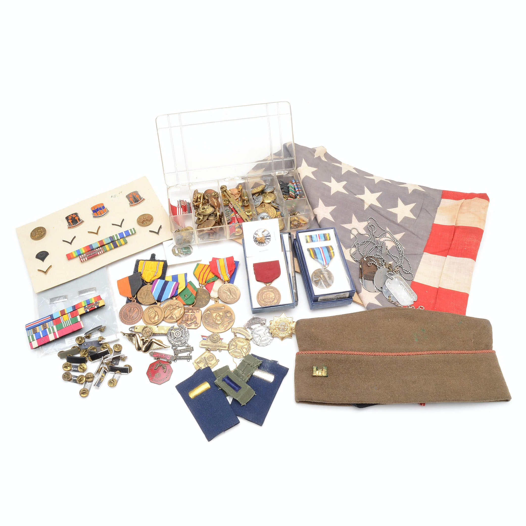 Collection of Vintage US Military Medals and Collectibles