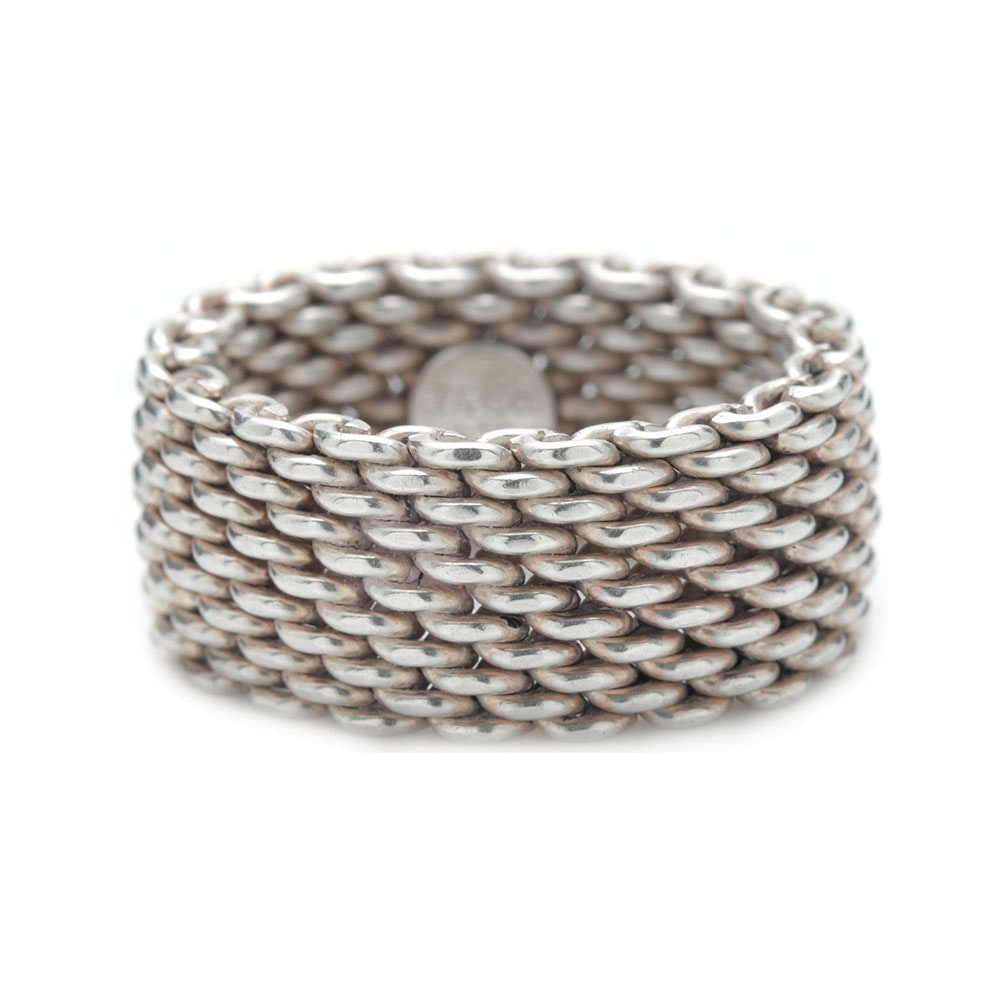 "Tiffany & Co. Sterling Silver ""Somerset™"" Collection Mesh Ring"