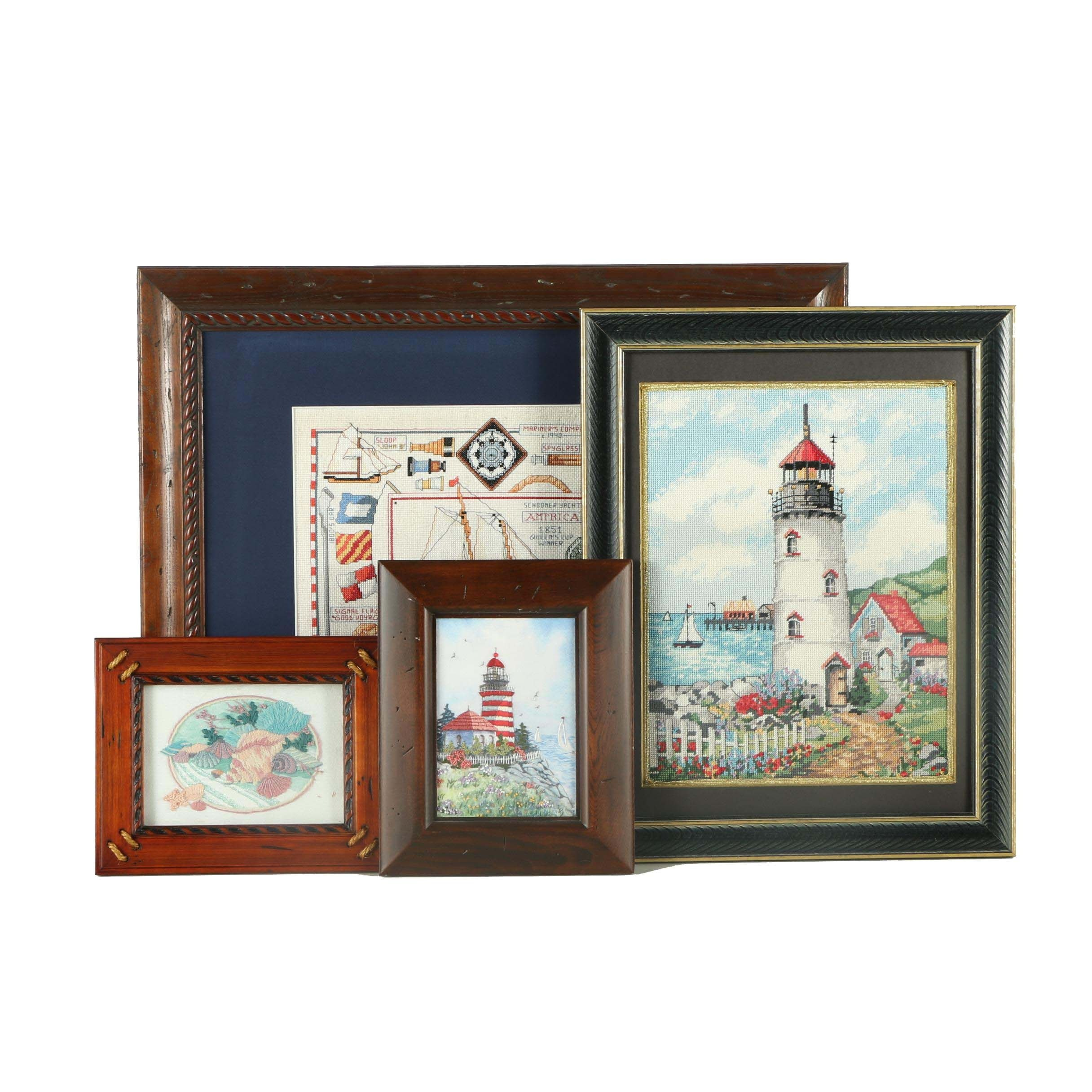 Framed Nautical Themed Needle Work Decor