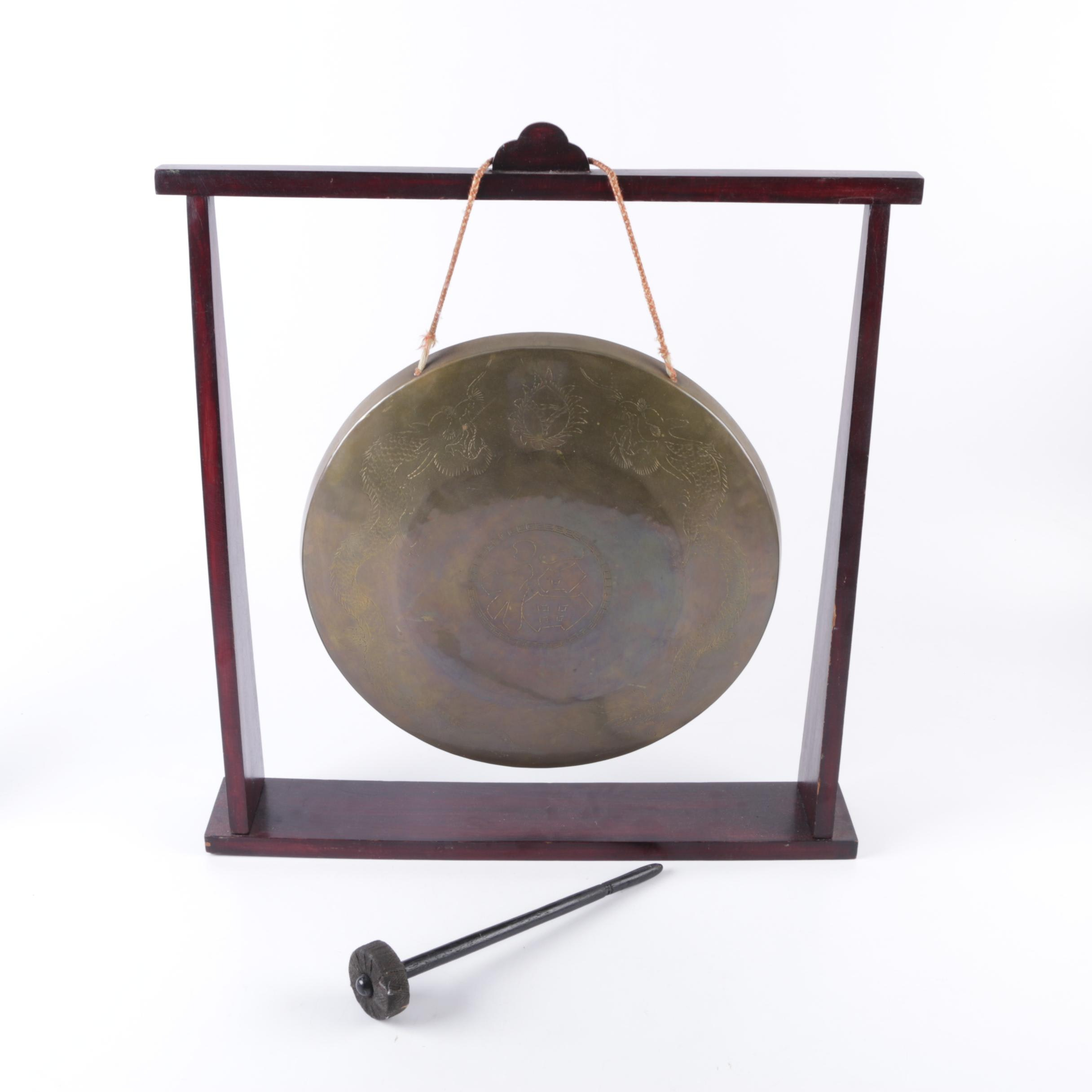 Suspended Brass Gong and Beater