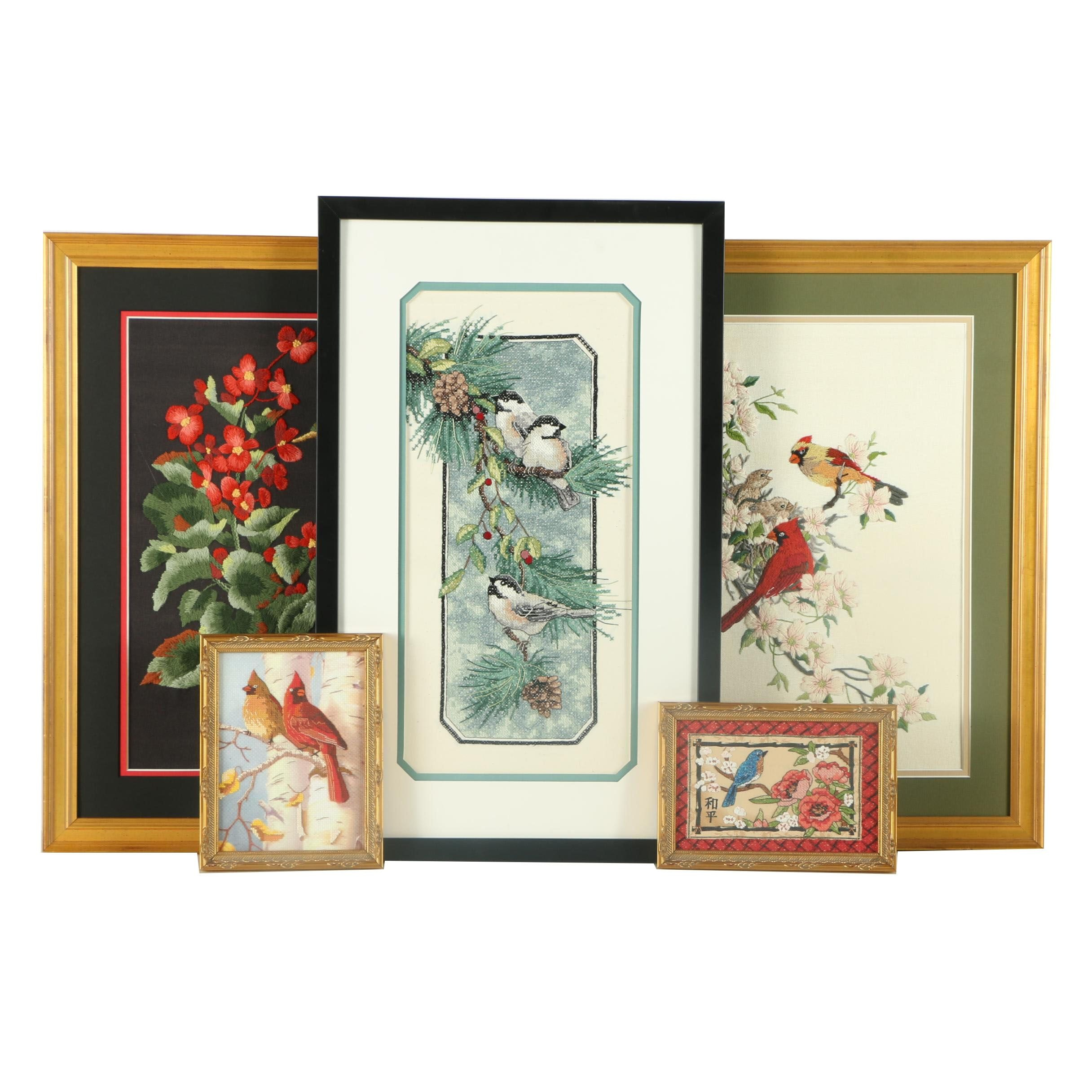 Collection of Framed Bird-Themed Needlepoint and Embroideries