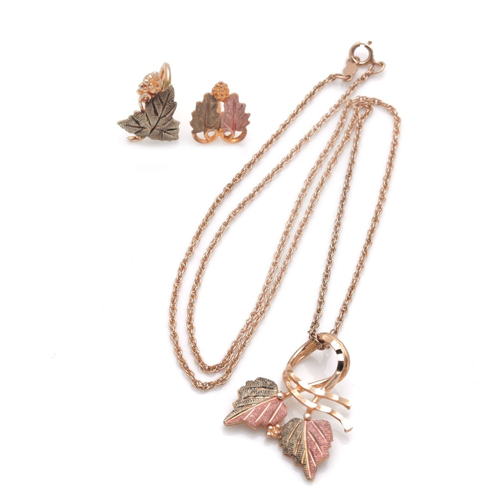 10K Yellow and Rose Gold Leaf Motif Jewelry