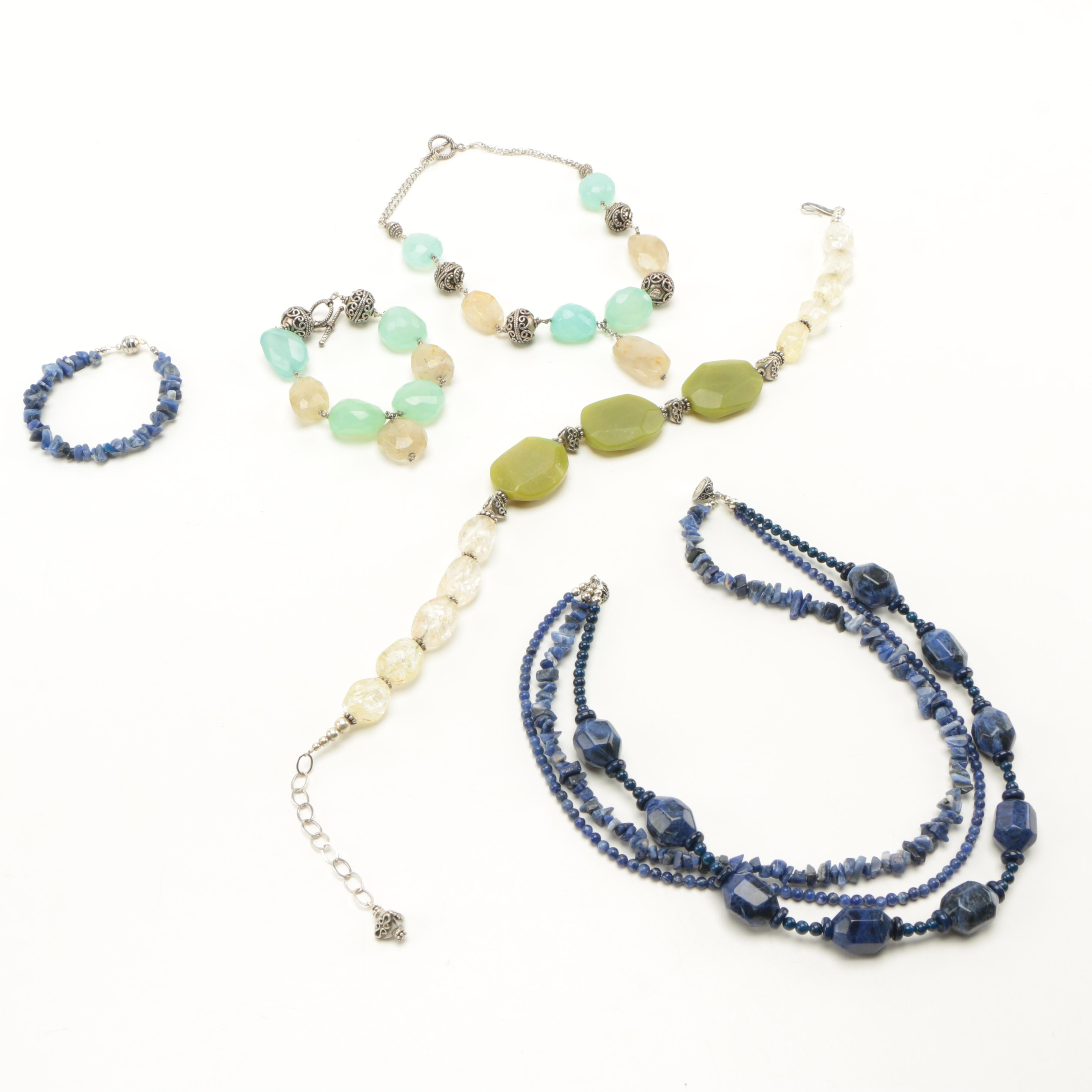 Sterling Silver and Chunky Gemstone Bead Necklaces and Bracelets