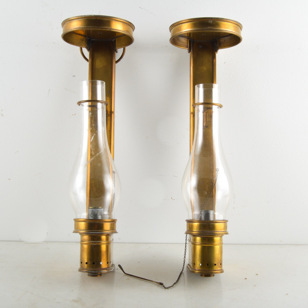 Vintage Brass Candlestick Wall Sconces