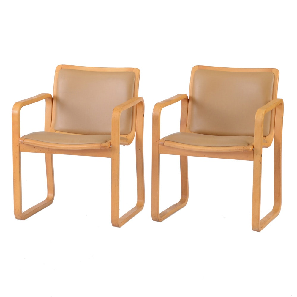 Pair of Modern Tan Vinyl Armchairs by Loewenstein