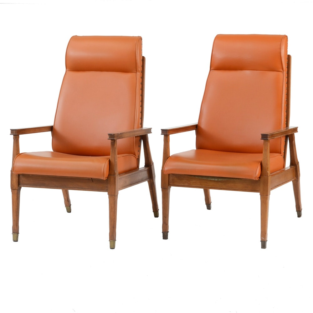 Pair of Pecan Framed Lounge Chairs