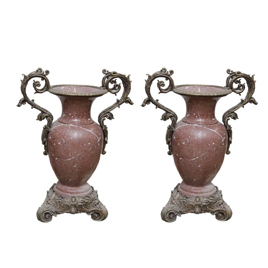 Pair Of Vintage Marble Vases Ebth