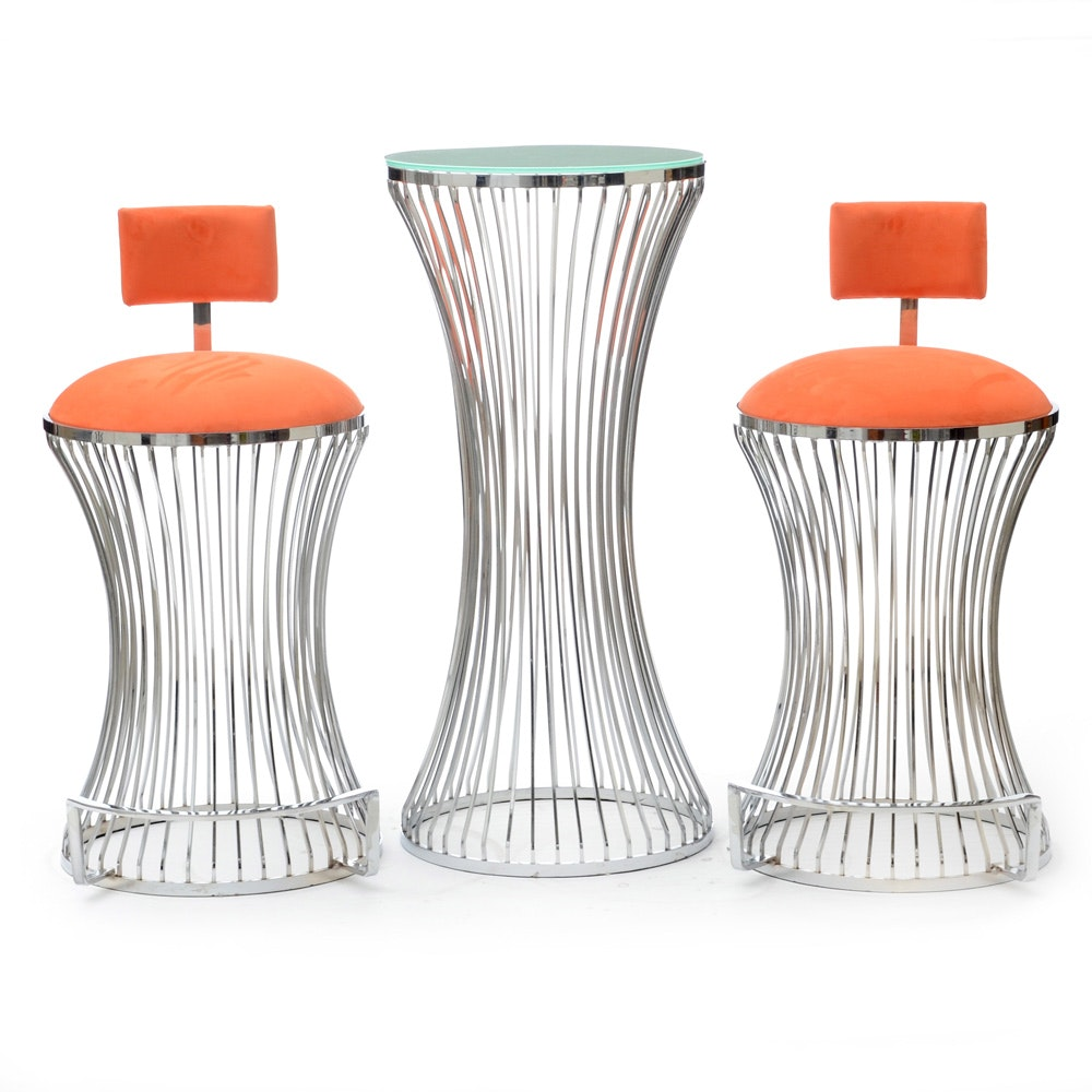 """""""Brooklyn Nights"""" Bistro Table and Stools in Chrome"""
