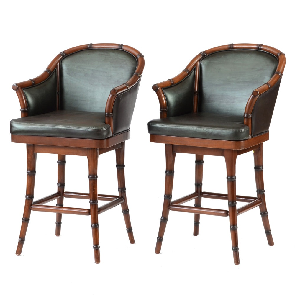 Pair of Frontgate Bamboo Style Swivel Stools