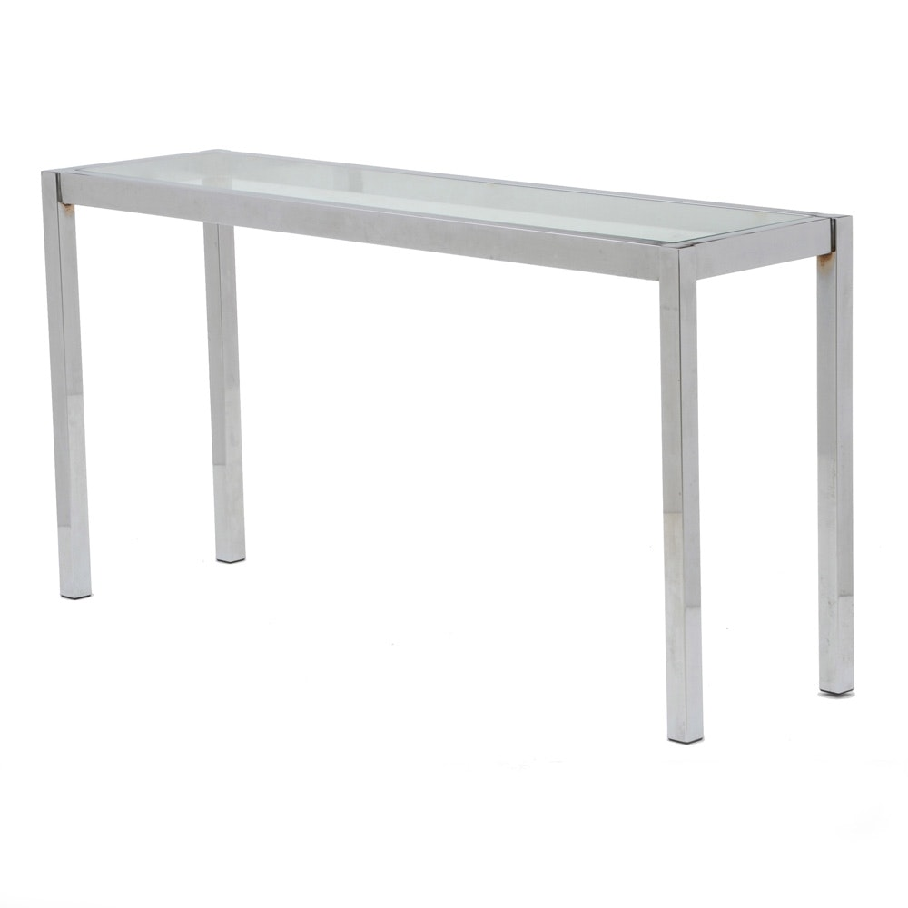 Chrome Sofa / Console Table with Glass Top