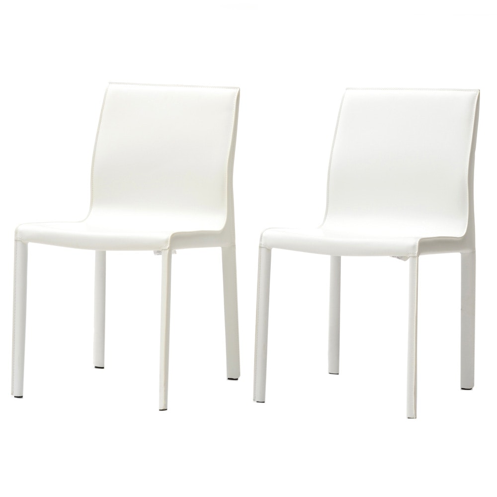 Pair of Nuevo White Vinyl Side Chairs