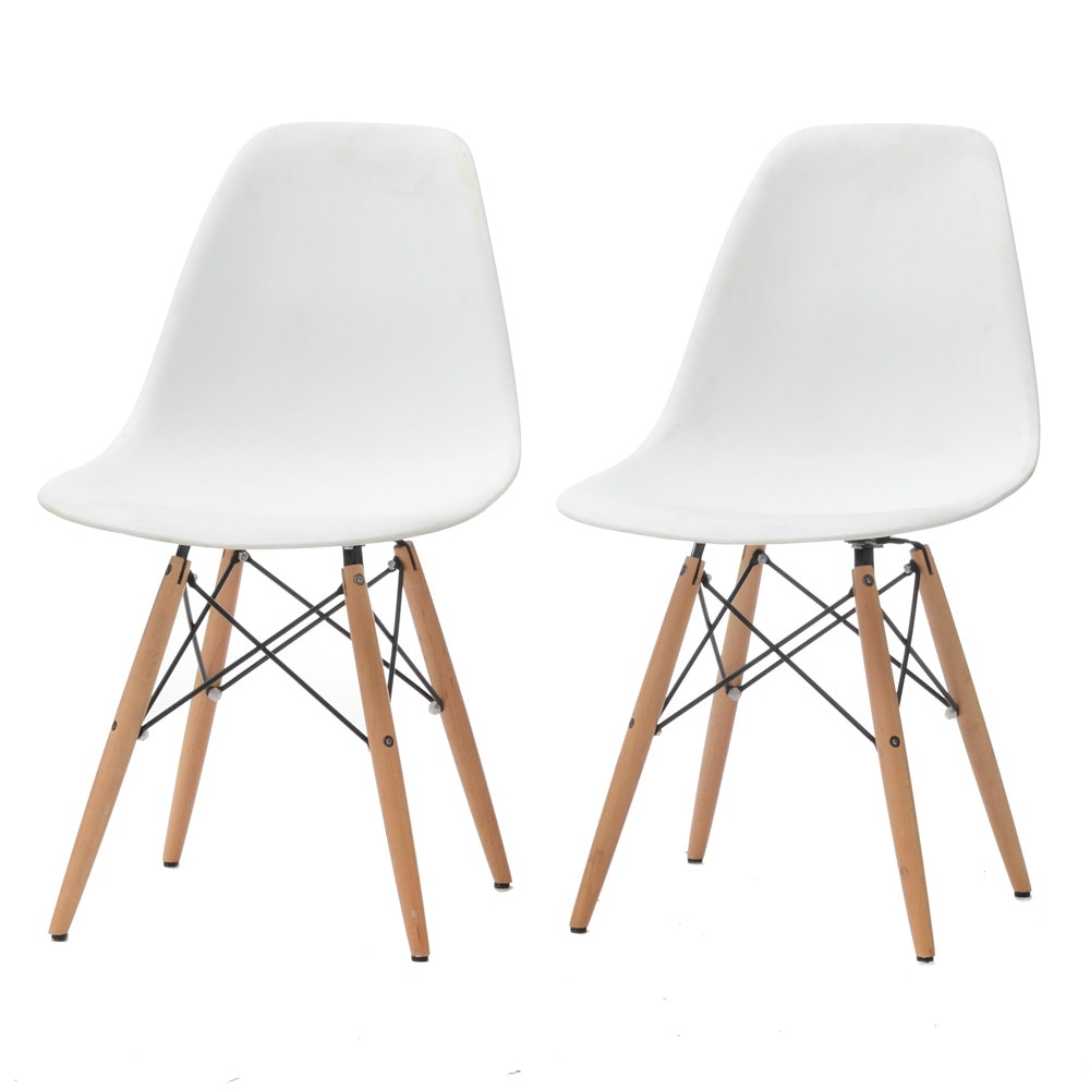 Pair of White Plastic Shell Chairs