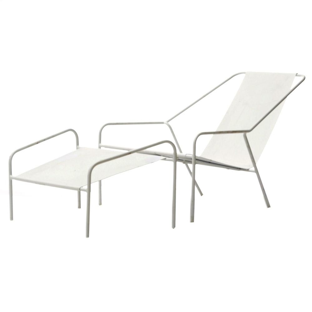 White Metal Lounge Chair with Footstool