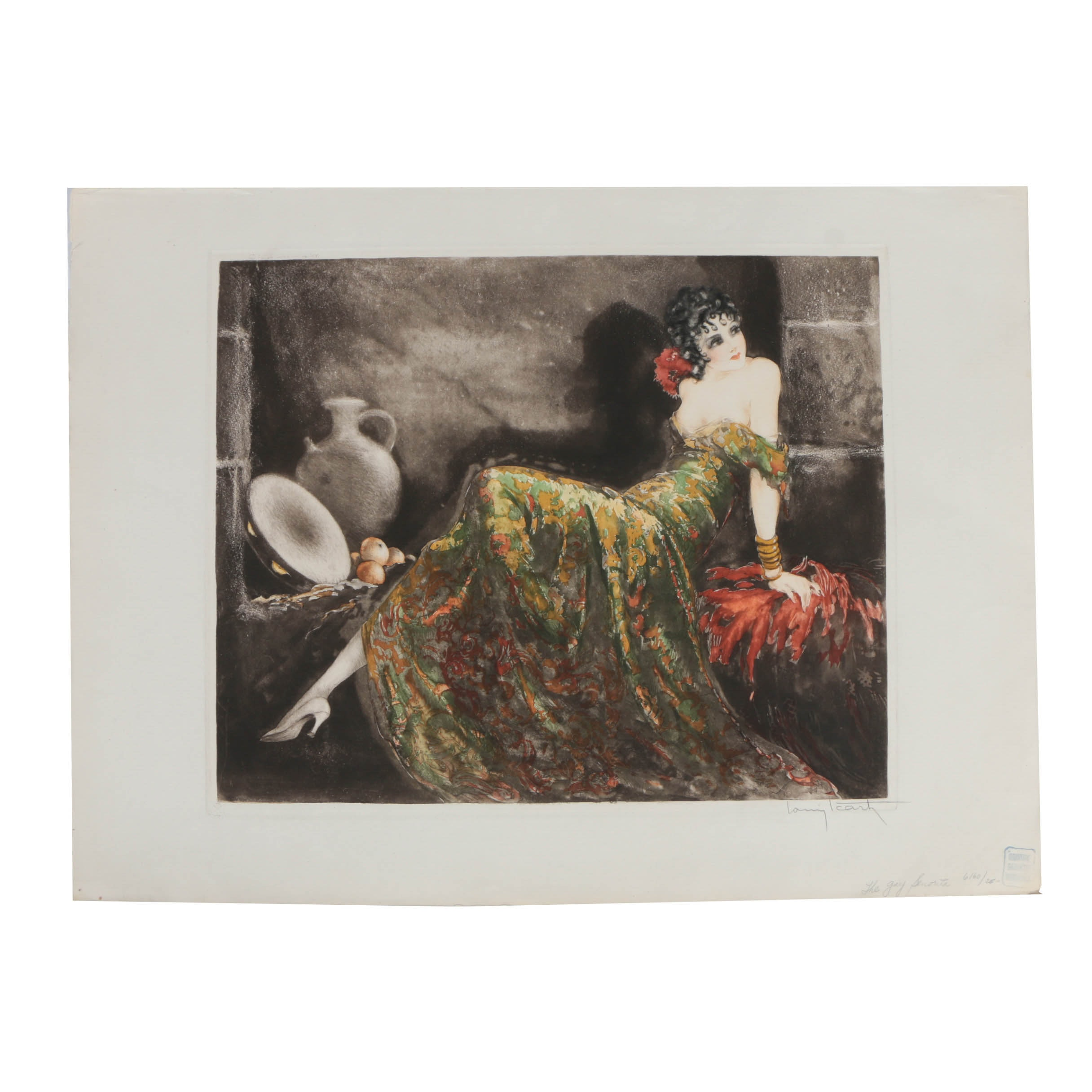 "Louis Icart Limited Edition Etching with Aquatint on Paper ""The Gay Senorita"""