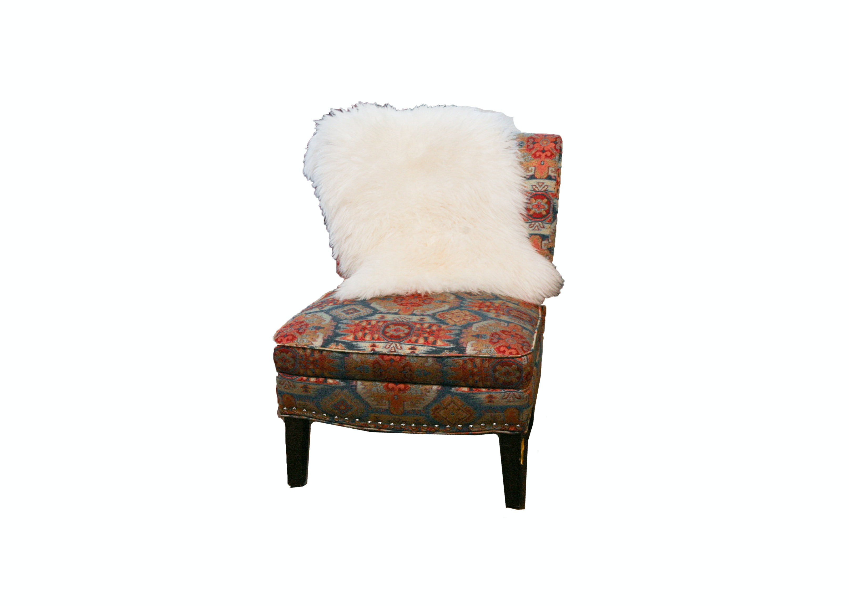 Colorful Accent Chair with Faux Fur Throw
