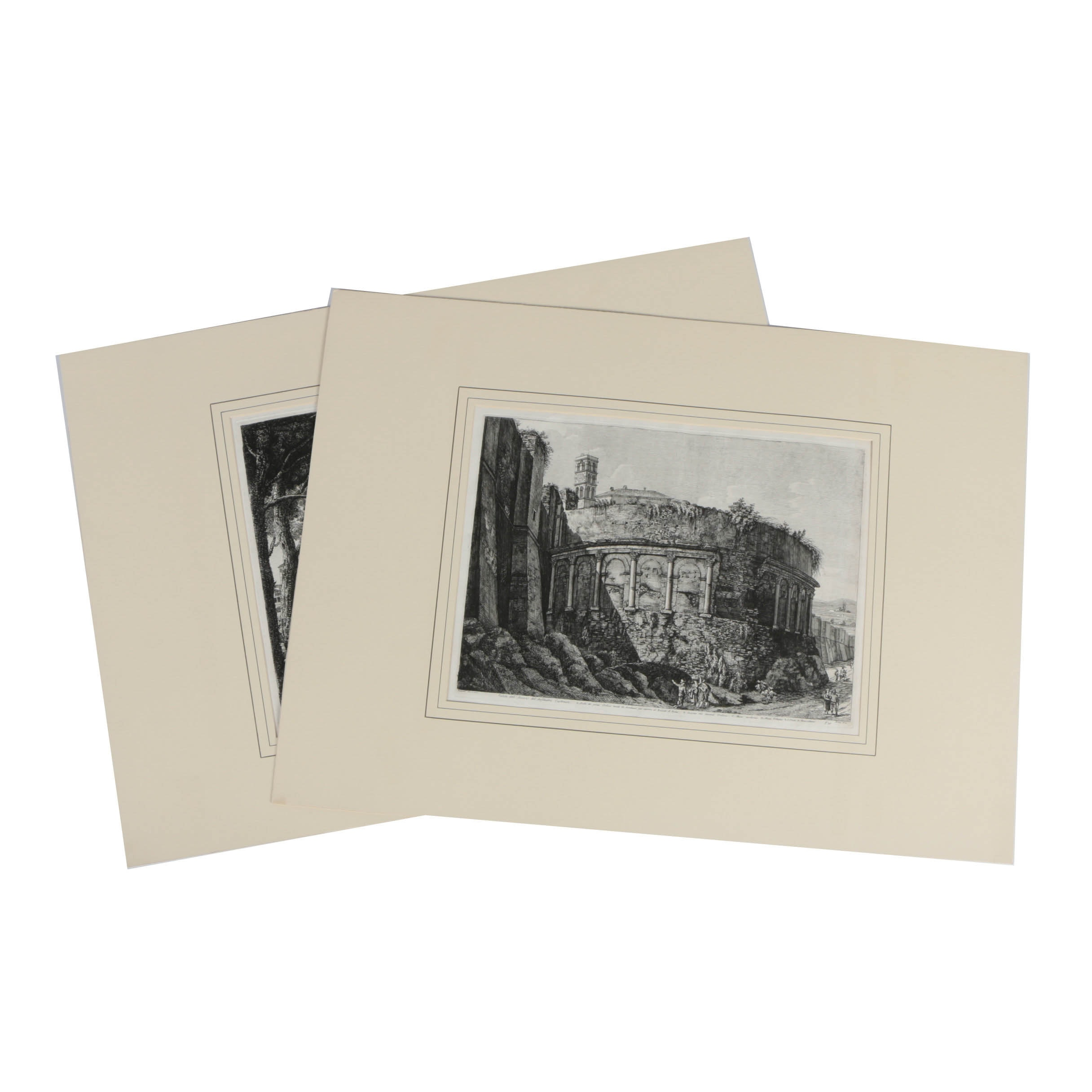 Pair of Restrike Etchings on Paper of Ancient Rome