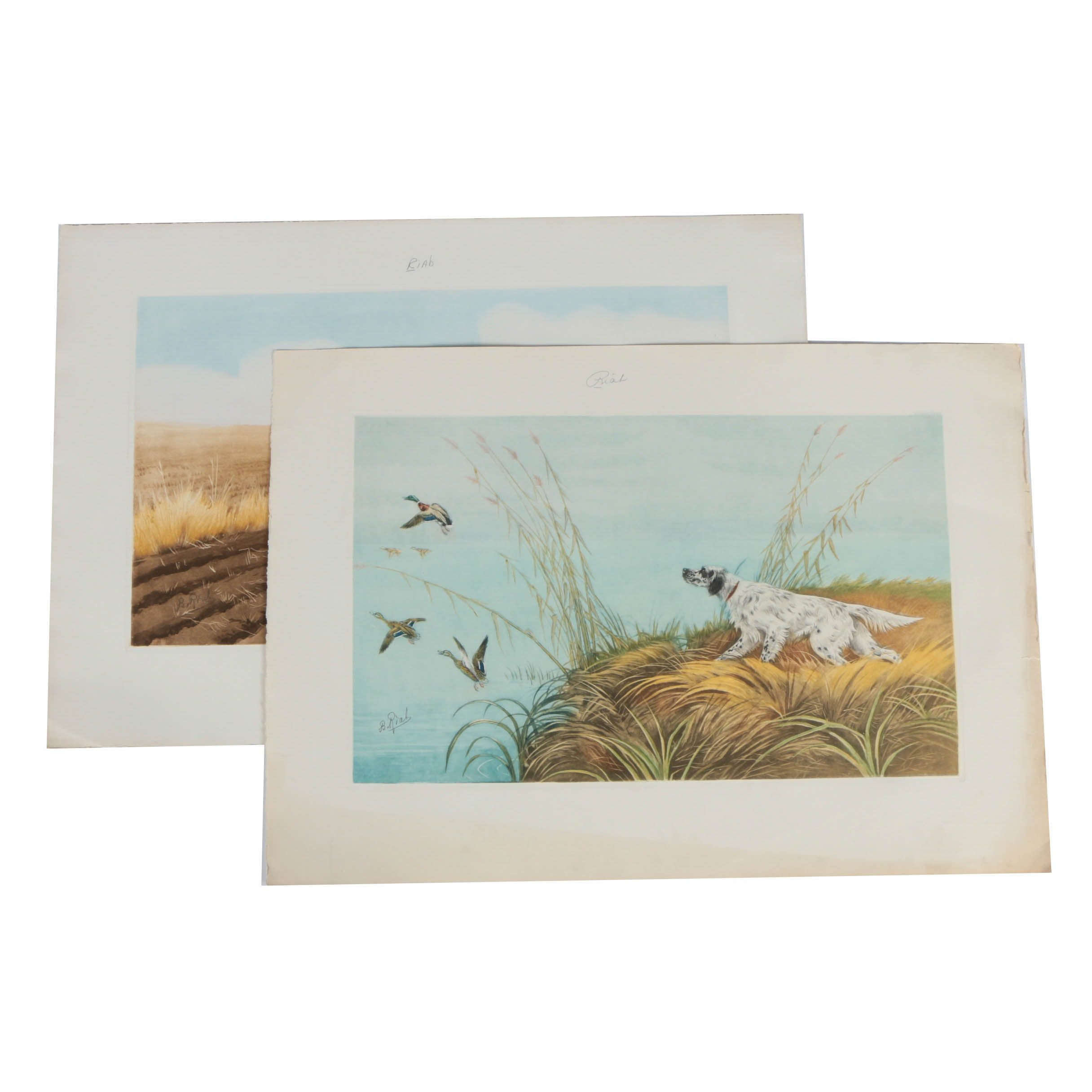 Boris Riab Pair of Lithograph Prints on Paper of Hunting Dogs