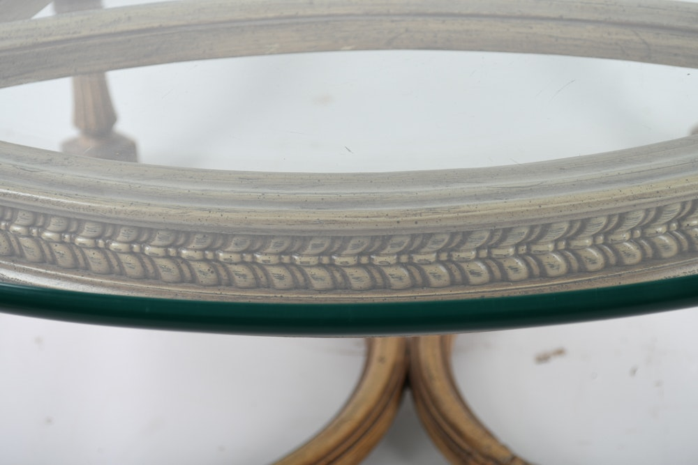 Neoclassical Style Glass Top Coffee Table Ebth